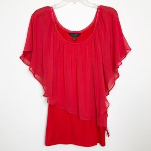 NWT Thalia Sodi Red Sheer Short Sleeve Blouse, XL